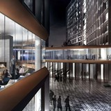 A rendering of the Dining Commons at night.