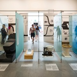 The 'toilet' room at Venice Biennale 2014 - Fundamentals, showcases a range of historical lavatories, from a Roman toilet through to the latest Japanese robo-loo. Photograph- David Levene for the Guardian