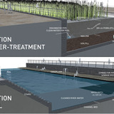 Holcim Gold Award: Urban renewal and swimming-pool precinct: Details water treatment and pool.