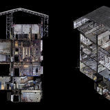 Sections through six floors of the west wing showing Mackintosh Lecture Theatre, Library and studio 58. Image: The Digital Design Studio at The Glasgow School of Art.