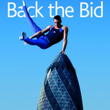 "By featuring 30 St Mary Axe as support for vaulting gymnast Ben Brown, this ""Back the Bid"" poster suggested that London possessed the expertise and daring to risk public money on hosting the Olympic Games. M&C Saatchi, Inc., ""Back the Bid,"" offset lithograph poster, 2004. Courtesy of..."