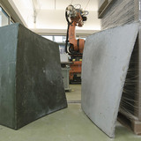 Acknowledgement Prize: High-efficiency concrete formwork technology, Zurich, Switzerland by Gramazio & Kohler, Architecktur und Digitale Fabrikation – ETH Zurich, Switzerland: 1x1m double curved free-form wax element, produced by a robotic process, and the concrete positive cast against it.