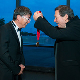 Ito receiving his medal last night from Thomas J. Pritzker, chairman of The Hyatt Foundation (Photo: © Rick Friedman)