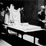 Le Corbusier and his assistants unveil his model for the Palace of the Soviets, 1931