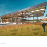 Holcim Bronze Award: Energy and water efficient border control station, Van Buren, ME by Julie Snow and Matthew Kreilich, Julie Snow Architects, Minneapolis, MN: View of primary canopy and main building.