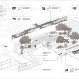 Isometric cutaway of urban hub. To enhance the area surrounding the hub the design was developed using the relationship between site and edge condition of the intervention to allow social choreography and take advantage of environmental conditions. This urban hub allows for more points of access...
