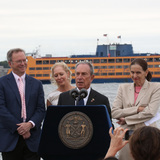 New York City Mayor Bloomberg breaks ground on The Hills, new public park on Governors Island, and announces a major gift from Wendy and Eric Schmidt to kick off the private fundraising campaign (Photo Credit: Spencer T Tucker)