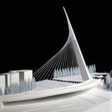 Puente de la Mujer Bridge – Buenos Aires, 1998-2001. Model (scale 1:100), 2013. Wood, Plexiglas, Polystyrene, metal, cm 183 x 103 x 72. Property of Studio Calatrava © Santiago Calatrava