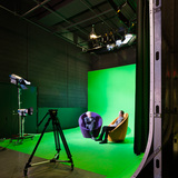 A smaller soundstage in Pratt Institute's Film /Video Department building includes an infinity green screen. Photo credit: Alexander Severin RAZUMMEDIA