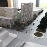 A 3-D model of the dorm's 15-story tower will be adjacent to 55th Street, where many businesses are already located.