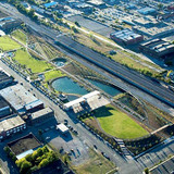 Tom Leader: Aerial view, Railroad Park, Birmingham, AL, 2010. Photo: Aerophoto