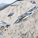 A painting in the Peak series by Zaha Hadid. Image via http://www.arcspace.com/
