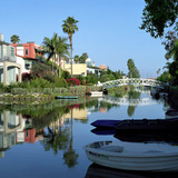 A present day image and future collage of the venice canals. The collage is by Los Angeles based graphic designer Riah Buchanan. Photograph by Jennie Warren, collage by Riah Buchanan.