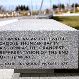 Poetry etched in granite seating bench