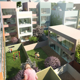 The village-like interior of the block with fruit trees and public and private gardens (Image courtesy of MVRDV)