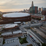 "As the sun sets over the Barclays Center arena, a new era is about to begin. The developer says that the 16 towers planned around the arena – almost all residential – will eventually be built in two phases, and the project goals of ""Jobs, Housing, Hoops"" will be fulfilled. Credit: Victor..."