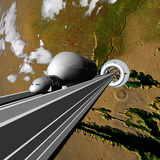 An artist's rendering of what a space elevator could look like on a terraformed Mars. Credit: FlyingSinger via flickr