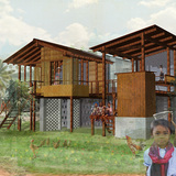 Winning designs of Cambodian Sustainable Housing competition now built. Image courtesy of Building Trust International.