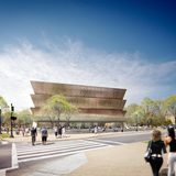 render of the winning design concept for the National Museum of African American History and Culture submitted by Freelon Adjaye Bond : SmithGroup