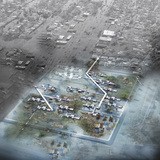 Flooding Scenario: Hybrid solution of permanent & temporary structure. Image courtesy of diji-lab.