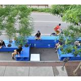 Ad-bloc parklet outside Pavement Coffeehouse on Commonwealth Avenue in Boston. Credit: Interboro Partners