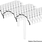 HASSELL + Herzog & de Meuron's winning entry: Station Roof Axonometric View