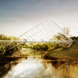 The O bridge by Christ Precht of penda and Alex Daxböck - Proposal for Salford Meadows Bridge Competition.