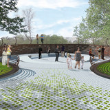 The winning design for the OC Crime Victims' Memorial in Irvine, Calif. by New York-based Zerafa Studio in collaboration with Gregory T Waugh, Architect. Image courtesy of Zerafa Studio