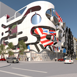 WORKac's facade for Museum Garage, in the Miami Design District. Courtesy of The Miami Design District.