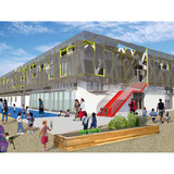 Holcim Silver Award: Zero net energy school building, Los Angeles, CA by Gloria Lee and Nathan Swift, Swift Lee Office, Los Angeles, CA in collaboration with IBE Consulting Engineers, Sherman Oaks, CA, Thornton Tomasetti Inc., San Francisco, CA, and Butler Manufacturing Company, Santa Ana, CA...