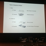 A slide presented by Prof. Hill showing different types of adaptive design. Credit: Kristina Hill / The Next Wave