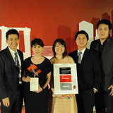 "Winners of the Holcim Awards Silver 2011 Asia pacific for ""Urban agriculture and factory conversion, Bangkok, Thailand"" (l-r): Phuttipan Aswakool, Singh Intrachooto, Jariyawadee Lekawatana, Amphai Tamonut, Isavaret Tamonut, Manassak Senachak and Kritpol Mekpanuwat."