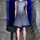 Fashion Design: Behnaz Sarafpour; Dress in neoprene with Lucite trimmed hem, look 2, fall 2013. Photo: Ricardo Rivera