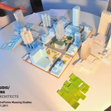 A scale model, center, of a section of downtown Lexington shows one of the raw concepts for the CentrePointe block. Circling it are models of several alternative ideas that Studio Gang Architects will show at a public meeting Thursday. The site models include combinations of high-rise and low-rise...