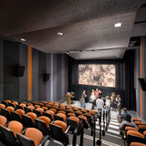 Pratt Institute's Film/Video Department Building houses an elegant, state-of-the-art screening room that seats 96 people. Photo credit: Alexander Severin RAZUMMEDIA