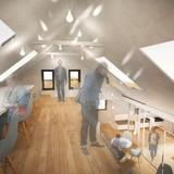 Mezzanine level with large skylights. Image via go-design.co
