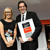 "Winners of the Holcim Awards Bronze 2011 North America for ""Energy and water efficient border control station, Van Buren, Maine, USA"" (l-r): Julie Snow and Matthew Kreilich, Julie Snow Architects, Minneapolis, MN."