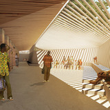 Global Holcim Awards 2012 Gold: Secondary school with passive ventilation system, Gando, Burkina Faso: The newly shaded landscape creates a platform for meeting, learning and teaching with multiple sports fields. (Image © Holcim Foundation)