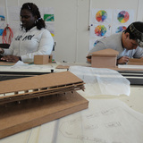 Studio H students Jamesha Thompson and Rodecoe Dunlow at work in the studio. From IF YOU BUILD IT, a Long Shot Factory Release 2013.