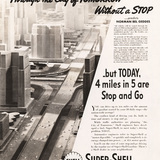 Norman Bel Geddes, Through the City of Tomorrow without a Stop, advertisement for Shell Oil advertising campaign, ca. 1932-1938 Image courtesy of the Edith Lutyens and Norman Bel Geddes Foundation / Harry Ransom Center