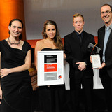 Winners of the Holcim Awards Gold 2011 North America for Regional food-gathering nodes and logistics network, Iqaluit, NU, Canada (l-r): Lola Sheppard, Nikole Bouchard, Fionn Byrne and Mason White, Lateral Office / InfraNet Lab, Toronto, Canada and Princeton, NJ, USA.