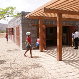 Porch entrance of the Tarrafal Football for Hope Center. Location: Tarrafal, Cape Verde. Credit: Darren Gill