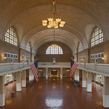 The Ellis Island Registry Room was originally constructed in 1900 by architects Boring and Tilton with a plaster ceiling, and was reconstructed with a beautiful tile ceiling by the Guastavino Company in 1917; literally becoming a palace for the people of sorts, where millions of immigrants passed...