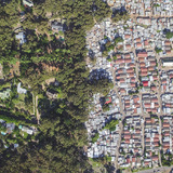 Hout Bay / Imizamo Yethu, Cape Town, South Africa, from the drone photo series Unequal Scenes by Johnny Miller.