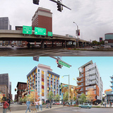 The rendering of the grade-level boulevard as an alternate option from the