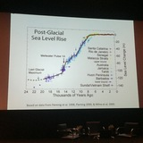A slide presented by Prof. Hill describing sea level rise over the past 24 thousand years. Credit: Credit: Kristina Hill / The Next Wave