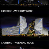 Holcim Bronze Award: Ecologically-designed retail and commercial building, Putrajaya, Malaysia: Façade lit as pristine jewel.