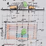 Renzo Piano, La scuola a S. José di Costarica. 3/31/12, Pen, Pencil, Marker, & Post It on Trace Paper, 17.5 x 24.5