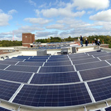 Solar panels on roof, Bancroft School project. Photo credit BNIM.