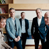 L to R: Senior Partners Christine Binswanger, Ascan Mergenthaler and Stefan Marbach, with Pierre de Meuron and Jacques Herzog, Herzog & de Meuron. photo: Tobias Madörin and Herzog & de Meuron
